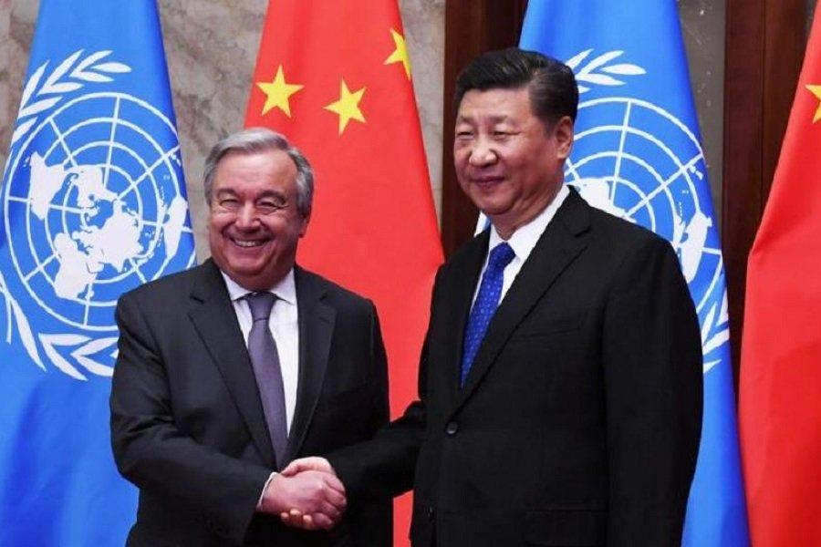 ديدار دبیر کل سازمان ملل با رئيس جمهور چين