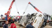 ۳ کشته و ۵ مجروح در حادثه واژگونی اتوبوس محور رفسنجان