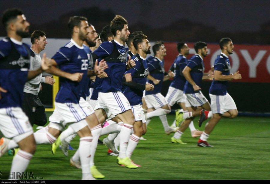 تمرین تیم ملی فوتبال در ورزشگاه کریکت شهر ابوظبی
