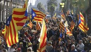 تظاهرات حامیان جدایی کاتالونیا در بارسلونا