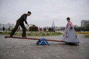 عکس روز: عروس و داماد روی الاکلنگ