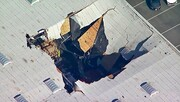 فیلم | جت اف-۱۶ روی انباری در کالیفرنیا سقوط کرد