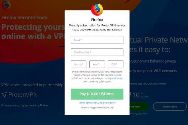 استفاده از فايرفاكس ماهانه ده دلار ميشود
