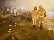 خودروها بعد از تصادف آتشگرفتند   ۲ کشته و ۶ مجروح