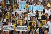تظاهرات مردم کرهجنوبی در مخالفت با سفر ترامپ به سئول
