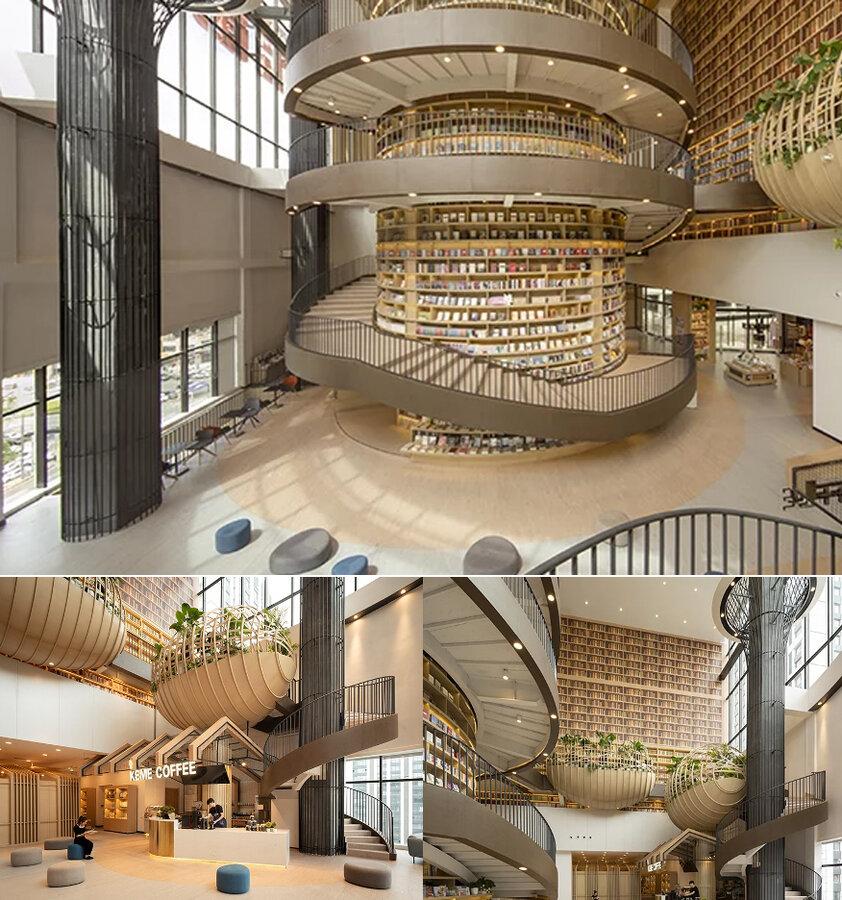 معماري جذاب كتابفروشي چيني با الهام گرفتن از كوهستان