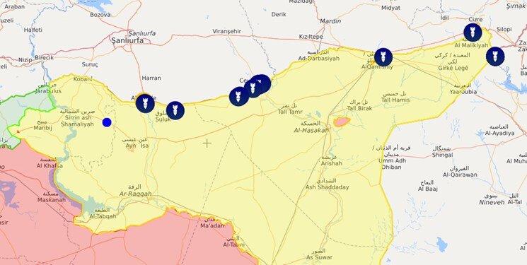 نقشه حملات ترکیه