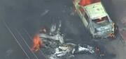 فیلم | سقوط هواپیمای سبک روی خودروهای پارک شده در برزیل