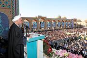 ماجرای برخی شعارها در زمان سخنرانی روحانی در یزد | واکنش آشنا