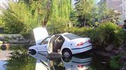 نجات راننده خودرویی که از برکه وسط پارک سردرآورد