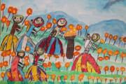 نقاشی کودک سیلزده گمیشانی در «هیکاری» ژاپن  دیپلم افتخار گرفت