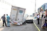 عکس | فرو رفتن یک کامیون در آسفالت در حومه بندرعباس