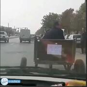 فیلم| الاغ سواری در اعتراض به گران شدن بنزین