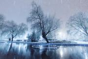 تصویر | بارش برف شبانه در همدان