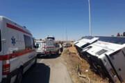 ۲۴ مصدوم در واژگونی اتوبوس مشهد- تهران در گردنه آهوان سمنان