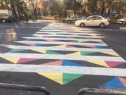 خط کشی متفاوت گذرگاه عابران پیاده قلب پایتخت
