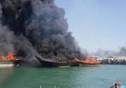 سه فروند لنج صیادی آتش گرفت