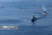 تصاویر آرایش دیدنی ناوها و ناوشکنها در رژه دریایی ایران، چین و روسیه