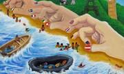 آرزوهای از دست رفته | نقاشیهای پناهجویان کمپ لسبوس یونان در راه حراج کریستی | ردپای ایرانیها در نقاشیها