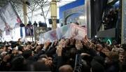 دفن پیکر سردار شهید سلیمانی با عبای رهبر انقلاب