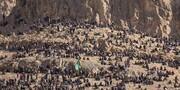 عکسی متفاوت از وضعیت کوههای اطراف گلزار شهدای کرمان در روز تشییع سردار سلیمانی