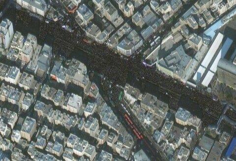 تصاویر ماهوارهای از انبوه جمعیت تشییعکننده پیکر سردار شهید قاسم سلیمانی در تهران