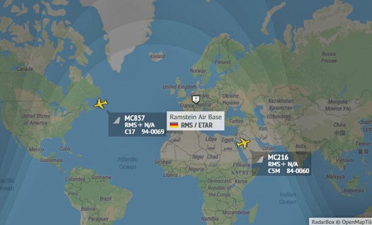 مسير پرواز هواپيماي سي17 آمريكا