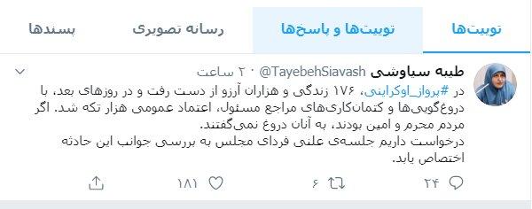 توییت سیاوشی در مورد سقوط هواپیما