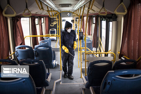 ضدعفونی اتوبوسهای شهری سمنان
