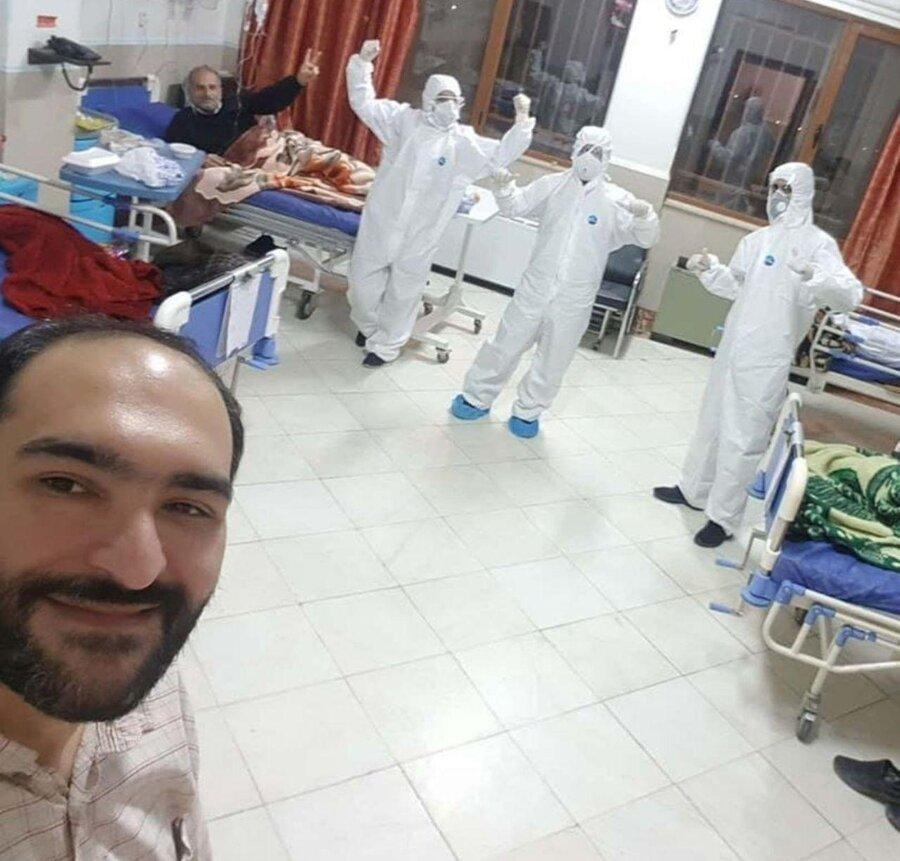 سلفی بیمار مبتلا به کرونا با پرستاران خود در بیمارستان مسیح دانشوری
