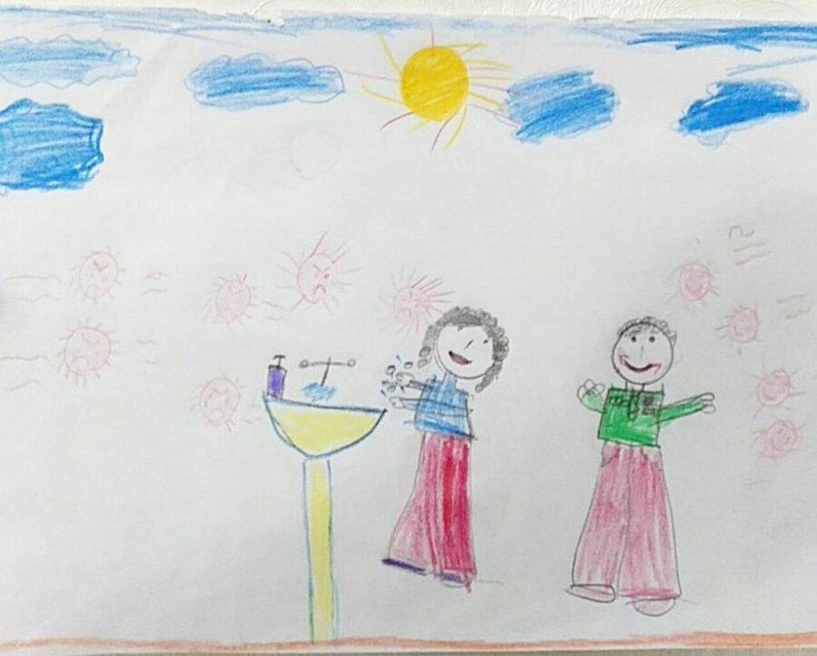 نقاشی کرونا پایه دوم