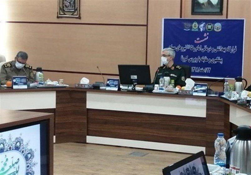 فرماندهان نظامی با ماسک در جلسه