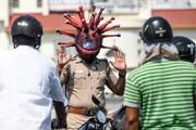 فیلم | کلاه کرونایی پلیس هند برای تشویق مردم به ماندن در خانه