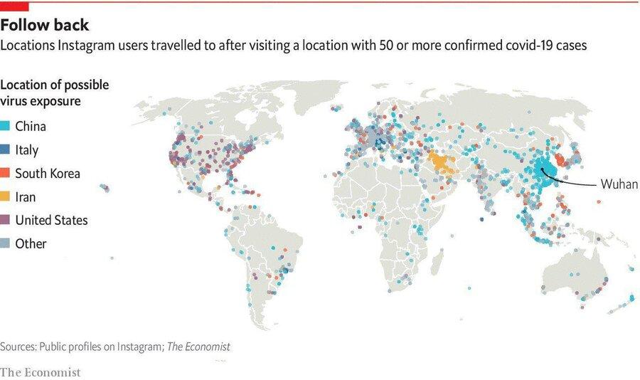 بررسی نشریه اکونومیست بر مبنای لوکیشن کاربران اینستاگرام