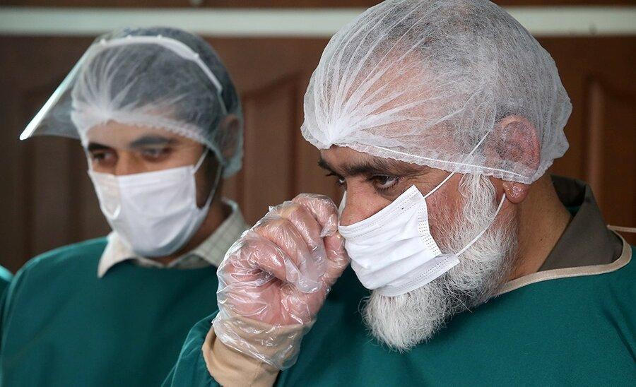 تصاویر |  پوشش متفاوت سردار نقدی در بادید از نقاهتگاه بیماران کرونایی