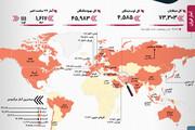 آمار کرونا در ایران و جهان | وضعیت ایران روی نقشه و نمودار