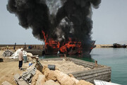 آتشسوزی ۳ فروند لنج صیادی در بندر مُقام