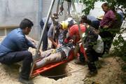 نجات جان یک کارگر از چاه ۱۰ متری در اراک