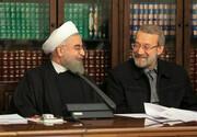 عکس | لحظه تقدیر روحانی از لاریجانی | روحانی برای لاریجانی چه نوشته شده بود؟