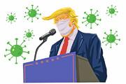 ترامپ سرانجام ماسک زد | آبی با نشان رئیس جمهوری ایالات متحده