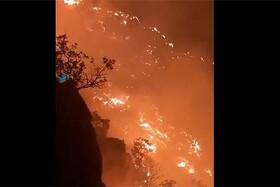 """فیلم   آتش اینگونه به جان """"بیبیجون"""" افتاد   بیش از ۱۵۰ هکتار جنگل و مرتع گچساران سوخت"""