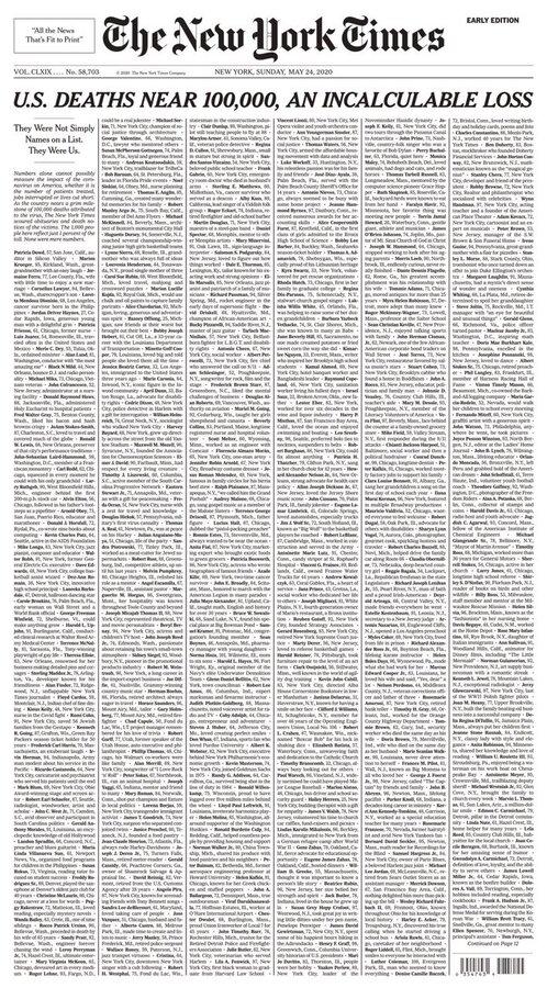 صفحه اول نیویورک تایمز برای کشتههای کرونا
