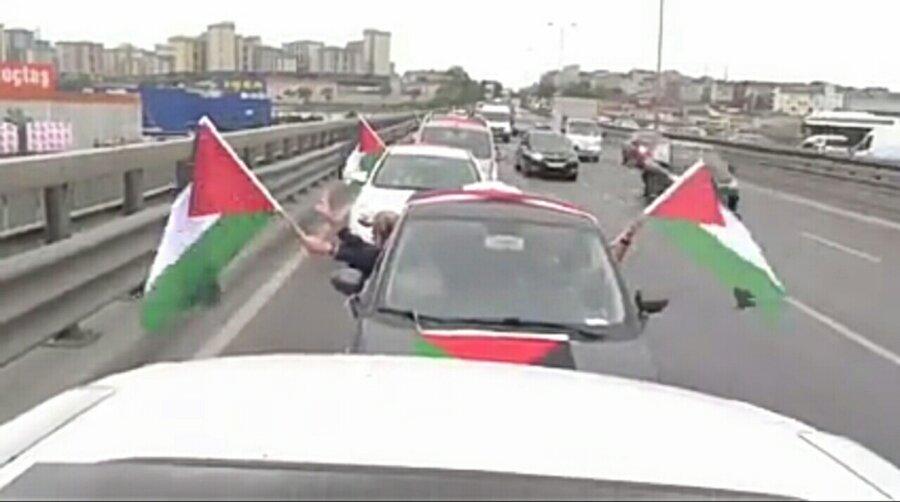 راهپیمایی خودرویی روبروی کنسولگری رژیم صهیونیستی در استانبول