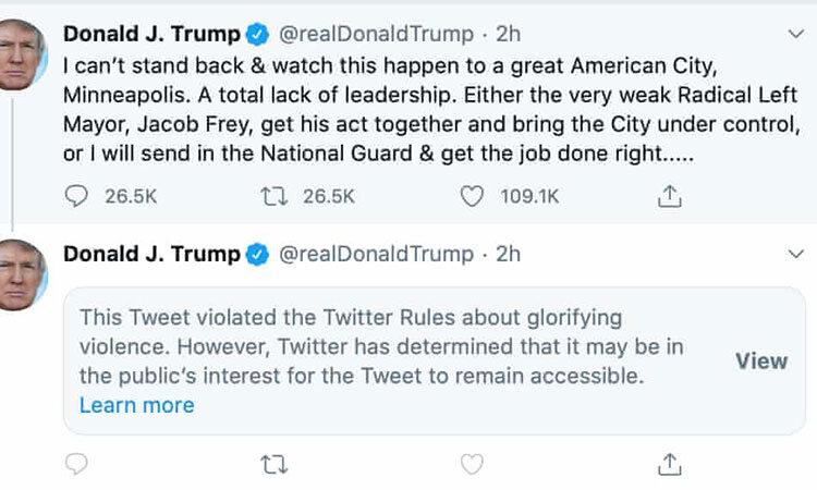 واكنش توييتر به توييت خشونتآميز ترامپ