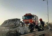 علت آتشسوزی خودرو حامل اتباع غیرمجاز در یزد اعلام شد