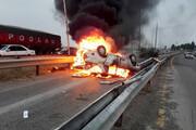 تصادف منجر به آتشسوزی در گلستان | ۳ نفر مصدوم شدند