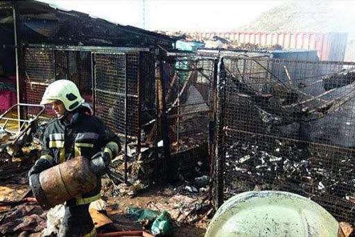 آتش سوزي در بازار گل امام رضا