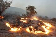 آتش به جان مراتع منطقه پلنگ دره افتاد