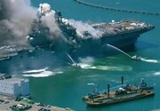 ویدئو | لحظه انفجار ناو آمریکایی از فاصله نزدیک