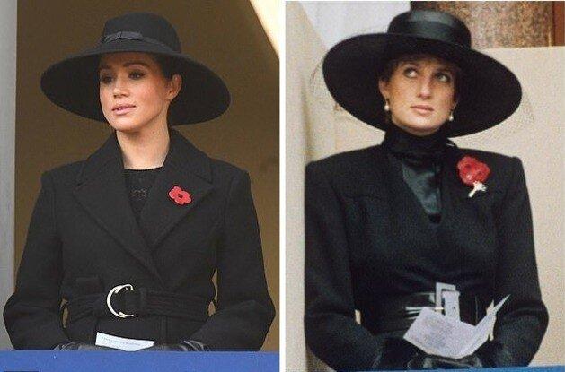 کت و بلوز و کلاه مشکی با سنجاق سینه گل قرمز